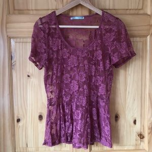 🎈Maurices sheer rose print lace peplum top size L